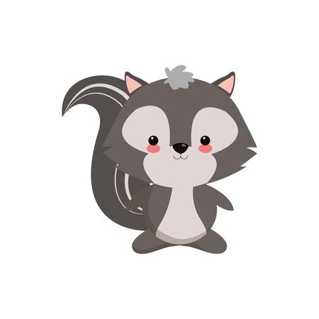 flat design cute skunk cartoon icon vector illustration