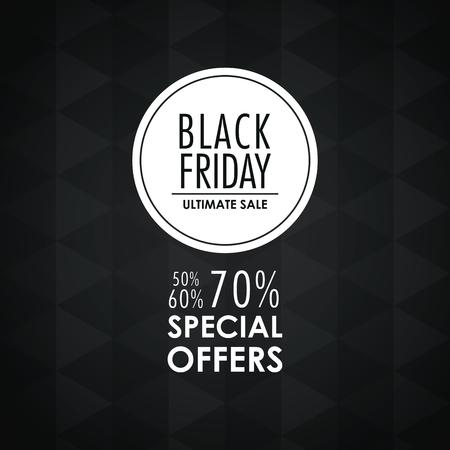 black friday sale offers icon. Black white design. Vector illustration