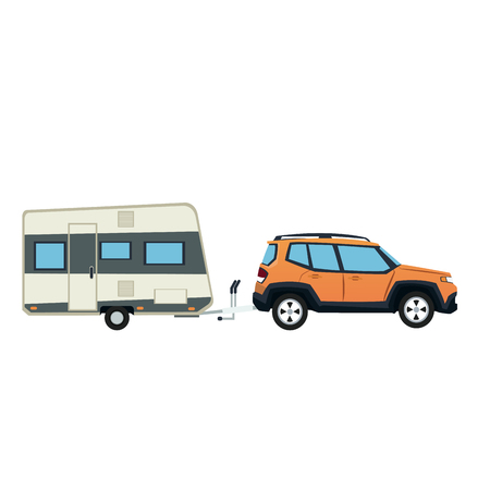 Illustration pour suv car and trailer camping adventure travel vector illustration - image libre de droit