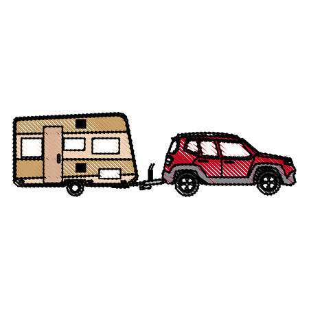 Illustration pour drawn suv car camper trailer travel transport vector illustration - image libre de droit
