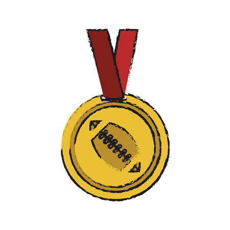 medal with ball american football icon image vector illustration design