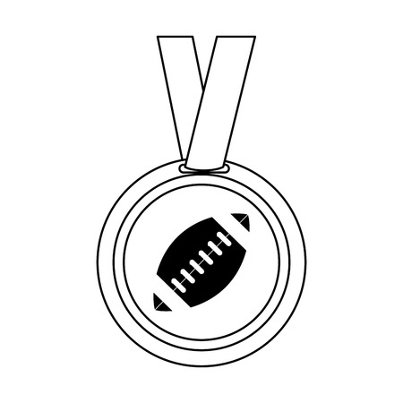 medal with ball american football icon image vector illustration design  black and white
