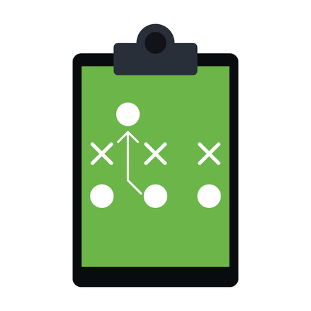 trainer game plan on clipboard american football icon image vector illustration design