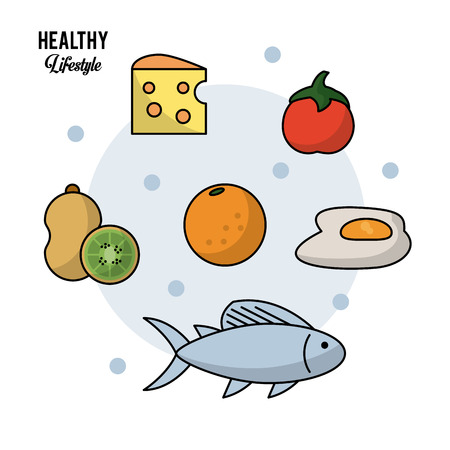 Foto für colorful background of healthy lifestyle with set of food kiwi fruit and cheese and orange tomato egg and fish vector illustration - Lizenzfreies Bild
