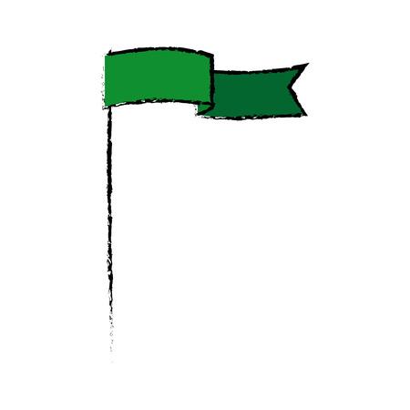 Ilustración de green flag waving insignia banner symbol vector illustration - Imagen libre de derechos