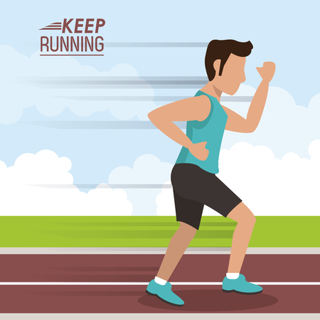 colorful poster keep running with man athlete jogging in track vector illustration