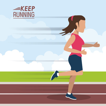 colorful poster keep running with female athlete sprinting in track vector illustration