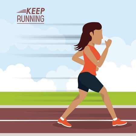 colorful poster keep running with woman athlete jogging in track vector illustration