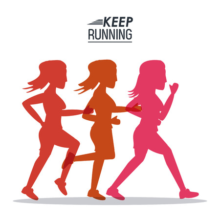 white background of poster keep running with colorful silhouettes of female athletes vector illustration