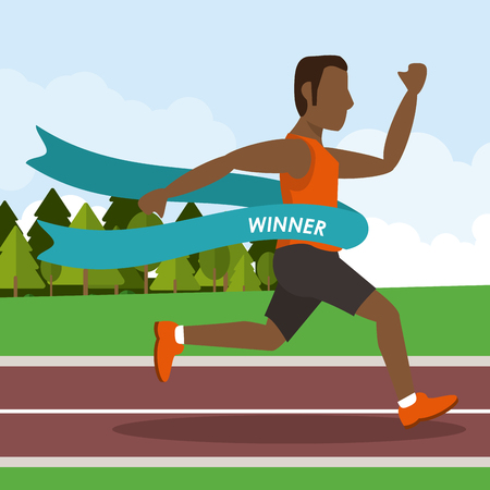 Colorful poster keep running with man athlete afro american crossing the finish line vector illustration