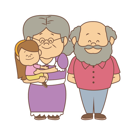 Illustration for happy grandparents standing with their granddaughter vector illustration - Royalty Free Image