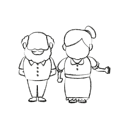 Illustration for happy grandpa and grandma parents standing together vector illustration - Royalty Free Image
