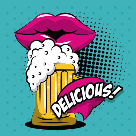 Illustration pour Beer pop art icon vector illustration graphic design - image libre de droit