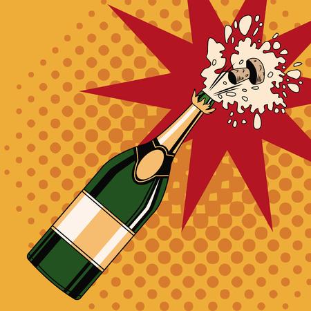 Illustration pour Champagne toast pop art icon vector illustration graphic design - image libre de droit