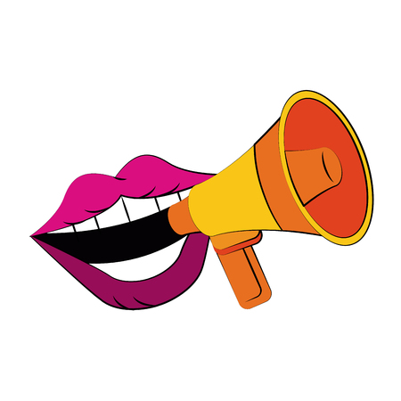 Illustration pour big mouth talking bullhorn or megaphone icon image vector illustration design - image libre de droit