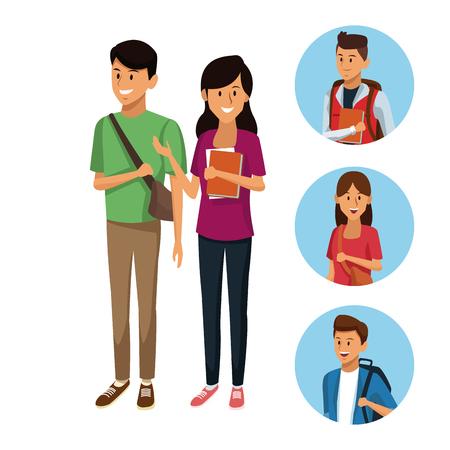 Ilustración de Young students cartoon icon vector illustration graphic design - Imagen libre de derechos