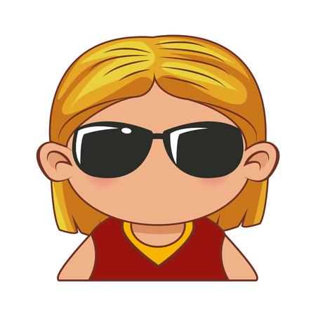 Ilustración de Cute girl face cartoon icon vector illustration graphic design - Imagen libre de derechos