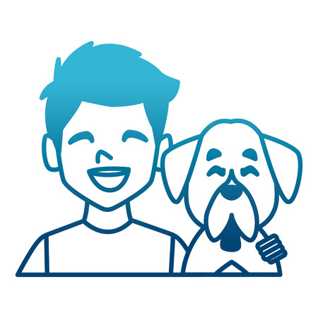 Man with dog cartoon icon vector illustration graphic design