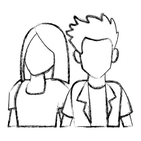 Illustrazione per Couple of friends cartoon icon vector illustration graphic design - Immagini Royalty Free