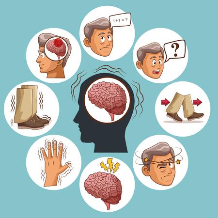Illustrazione per Parkinson's disease cartoon icon vector illustration graphic design. - Immagini Royalty Free