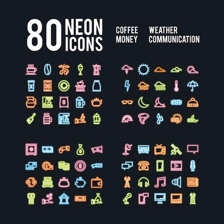 Ilustración de Miscellaneous neon icons of beverages weather business and communications, vector design - Imagen libre de derechos