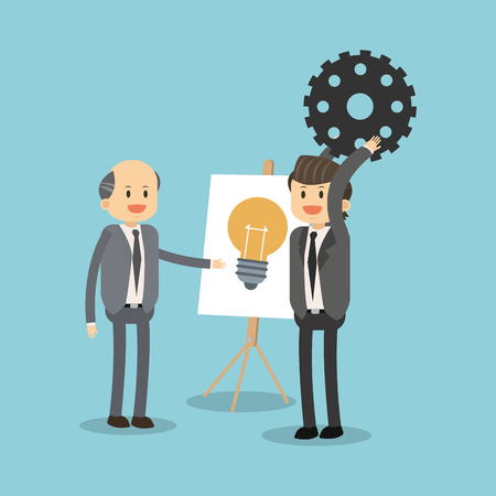 Illustration for Businessmen working for ideas vector illustration graphic design. - Royalty Free Image