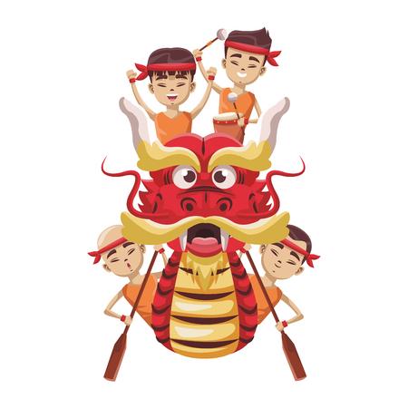 Ilustración de Chinese people on dragon boat icon vector illustration graphic design - Imagen libre de derechos