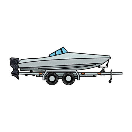 Ilustración de Boat on trailer isolated vector illustration graphic design - Imagen libre de derechos