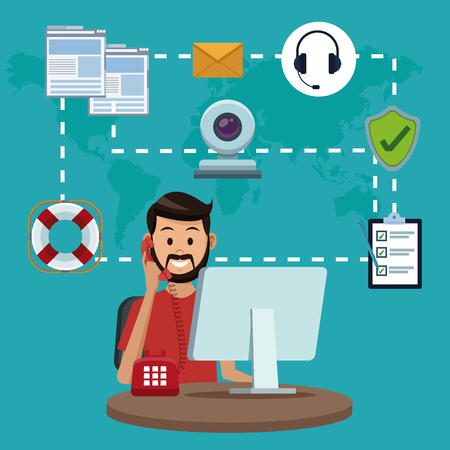 Illustrazione per User calling to customer service vector illustration graphic - Immagini Royalty Free