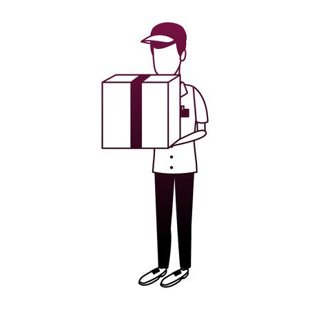 Illustrazione per Courier holding box vector illustration graphic design - Immagini Royalty Free