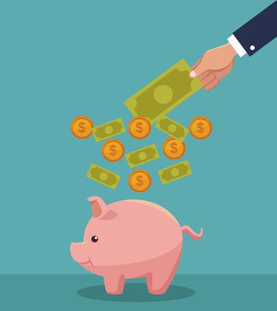 Illustration for Hand saving money cartoons concept vector illustration graphic design - Royalty Free Image