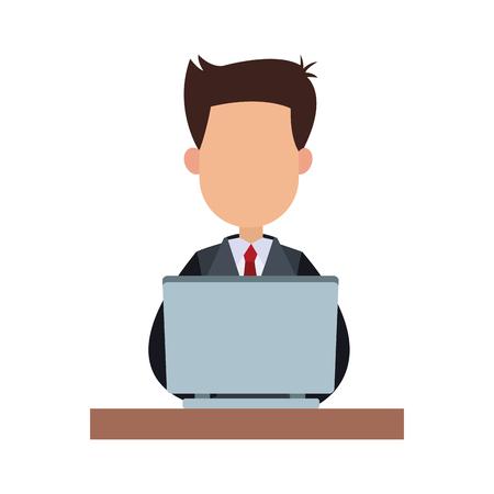Illustrazione per Businessman working in laptop vector illustration graphic design - Immagini Royalty Free