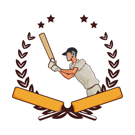 Cricket player with bat on wreath with stars emblem vector illustration graphic design
