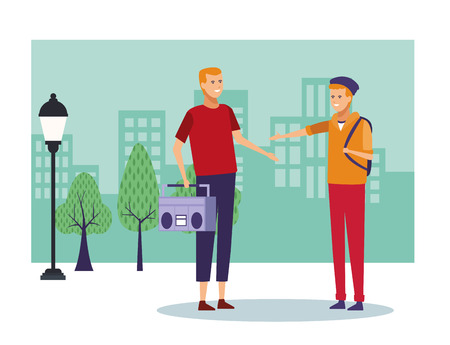 Illustration pour People talking and having fun at city scenery cartoons vector illustration graphic design - image libre de droit