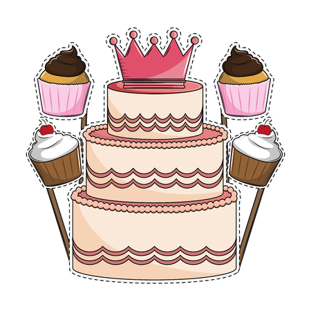 Illustration pour Birthday cake and cupcakes booth prop cut lines vector illustration graphic design - image libre de droit