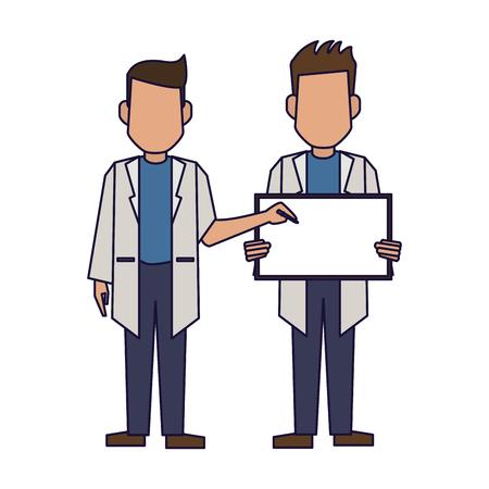 Illustrazione per Doctors with blank sign avatar vector illustration graphic design - Immagini Royalty Free