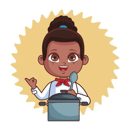 Ilustración de cute chef girl cartoon vector illustration graphic design - Imagen libre de derechos