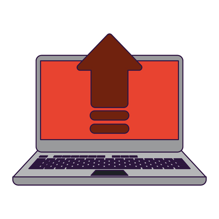 cloud computing technology laptop upload vector illustration graphic design