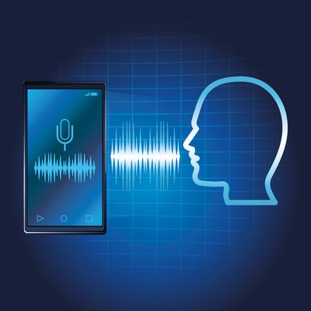Illustration pour Smartphone voice recognition speaker over blue waves background vector illustration graphic design - image libre de droit