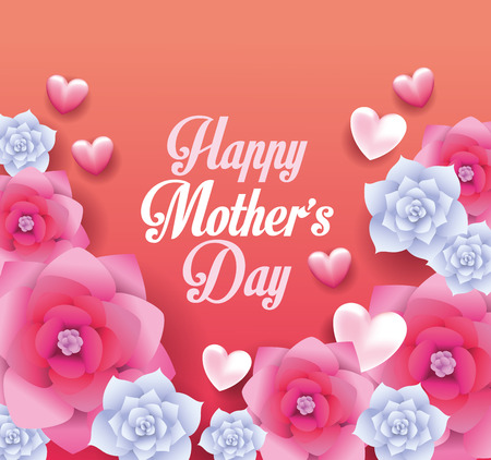 Illustration for Happy mothers day card with flowers frame vector illustration graphic design - Royalty Free Image