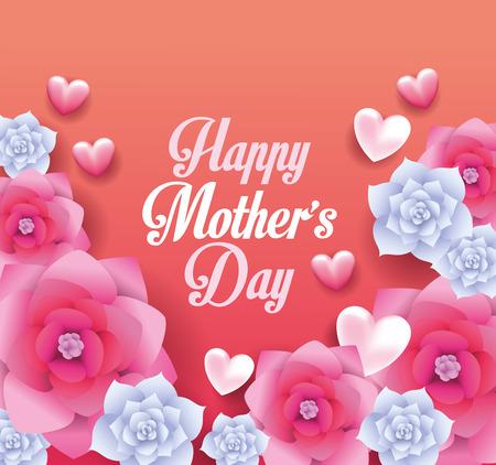 Ilustración de Happy mothers day card with flowers frame vector illustration graphic design - Imagen libre de derechos