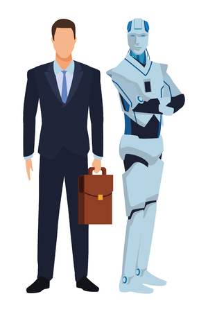 Illustration pour humanoid robot and businessman with briefcase avatar cartoon character vector illustration graphic design - image libre de droit
