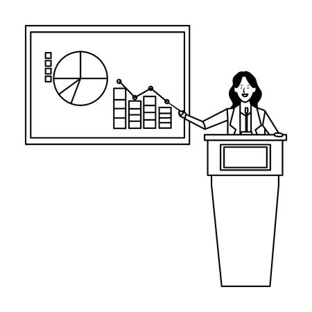 Ilustración de woman in a podium with infographics data chart business icon black and white vector illustration graphic design - Imagen libre de derechos