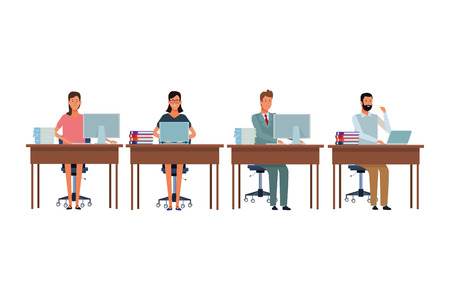 Illustration pour people in office desk with computer books and documents vector illustration graphic design - image libre de droit