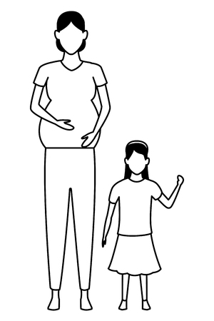 Ilustración de woman pregnant with child avatar cartoon character black and white vector illustration graphic design - Imagen libre de derechos
