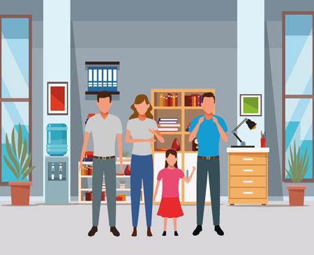 Illustration pour family avatar cartoon character child indoor house vector illustration graphic design - image libre de droit