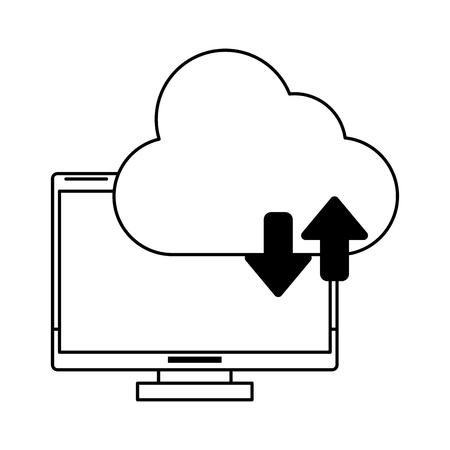 Illustration pour computer with cloud tranfer symbol icon cartoon vector illustration graphic design black and white - image libre de droit