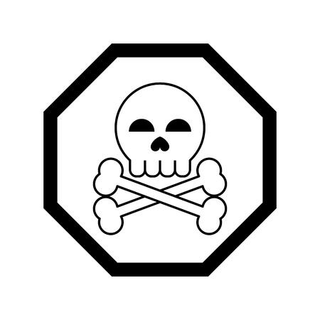 Ilustración de danger sign icon cartoon vector illustration graphic design black and white - Imagen libre de derechos