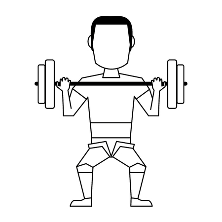 Illustrazione per Man lifting weights avatar isolated vector illustration graphic design - Immagini Royalty Free
