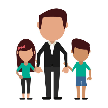 Illustrazione per Family avatar father with daughter and son faceless cartoon vector illustration graphic design - Immagini Royalty Free